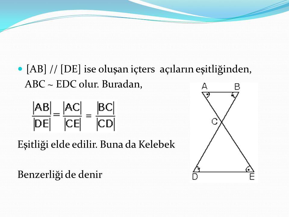 [AB] // [DE] ise oluşan içters açıların eşitliğinden,
